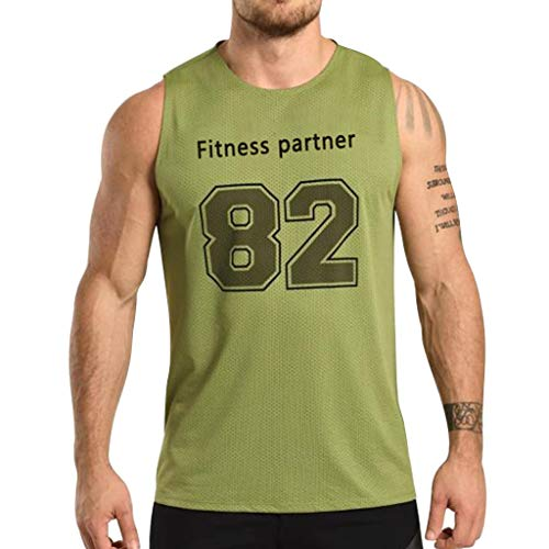 Men's Tank Top Shirt,82 Print Training Quick-Dry Sports for Gym Fitness Comfortable Bodybuilding Running Jogging (XL, Green)