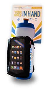 """Clean Bottle """"The Runner"""" Water Bottle Holder with Pouch, Blue"""