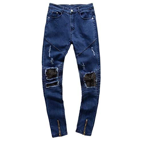 Jeans Dasongff Vintage Strech Skinny Holes Casual Slim Fit Ragazzo Chern Distrutti Denim Pantaloni Blau 4wFxqT1PF