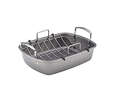 Circulon Nonstick Bakeware 16.5-Inch x 14-Inch Roaster with Self Rack, Gray