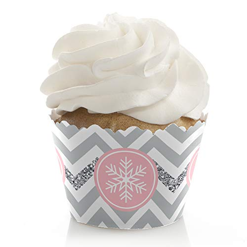 Pink Winter Wonderland - Holiday Snowflake Birthday Party or Baby Shower Decorations - Party Cupcake Wrappers - Set of 12 ()