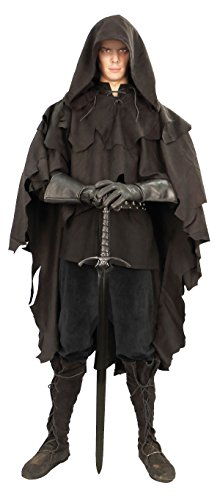Museum Replicas Ranger's Poncho Shredded Ultra Suede Hooded Cloak (Black) -
