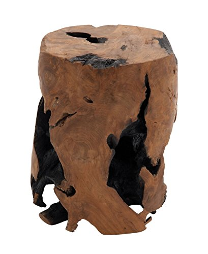 Deco 79 Teak Wood Round Stool, 14 by 18-Inch Carved Wooden Vanity