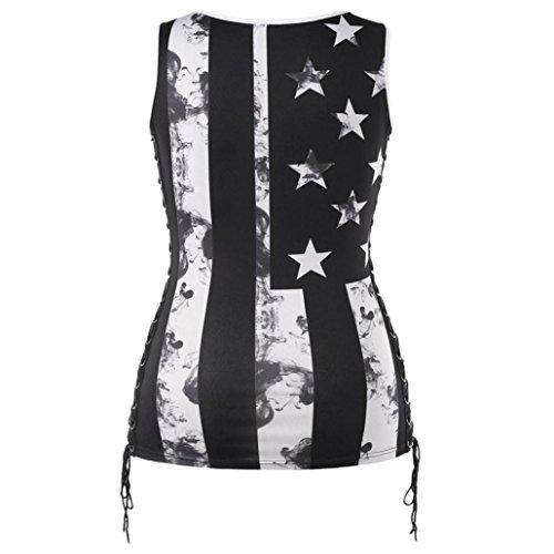 Impression Noir Femmes sans Dbardeur Mode Tops Col Shirt Manche Gilet Sexyville T Rond Casual Et SAqvZwxx6