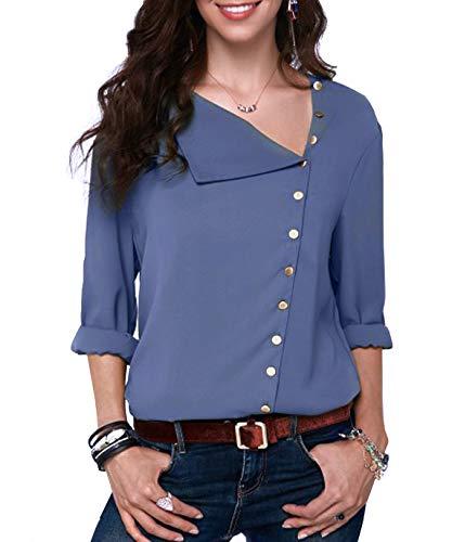 Bleu Longue Blouse Asymtrique Manche Bleu Femme S Chemise Col Haut Boutonn Noir JunJunBag Taille X Rabattu XxZwqASC
