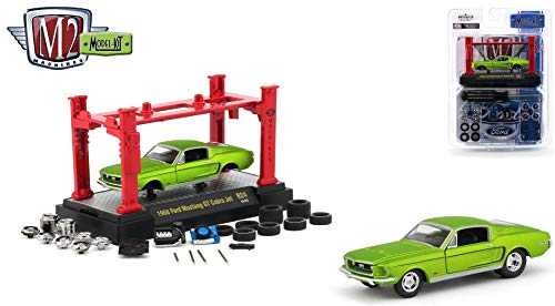 M2 Machines 1968 Ford Mustang GT Cobra Jet (Satin Green) 2018 Detroit Muscle Model Kit (Release 24) - 1:64 Scale Die-Cast Vehicle & Auto-Lift Building Set (R24 19-03) ()