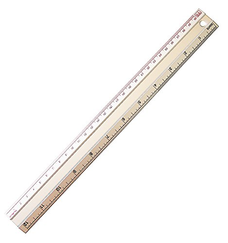 Set 1 Classroom Pack (DrWritting 12 Inch Aluminum Metal Ruler Pack of 1 Stationary Tool Kit Set for Kids School Classroom Office Home Art Design Drawing drafting with Conversion Tables cm mm inches Easy to Read Metric)