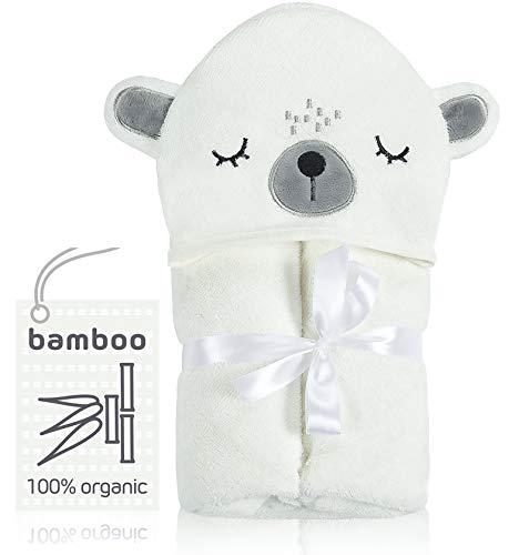 100% Organic Bamboo Hooded Baby Towel – Antibacterial, Hypoallergenic & Super Soft Baby Bath Towels for Toddlers, Newborns & Infants – Unisex Perfect for Beach, Pool & Bath Time – Great Baby Gif