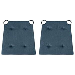 sleepling 1904581 Conjunto de 2 Cojines para Silla, Dimensiones: 42 (Delante) / 35 (detrás) x 40 x 5 cm, Azul Oscuro