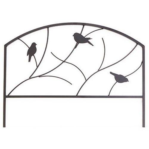 Panacea Perching Birds Garden Edge, 18-Inch Height by 24-Inch Width, Black