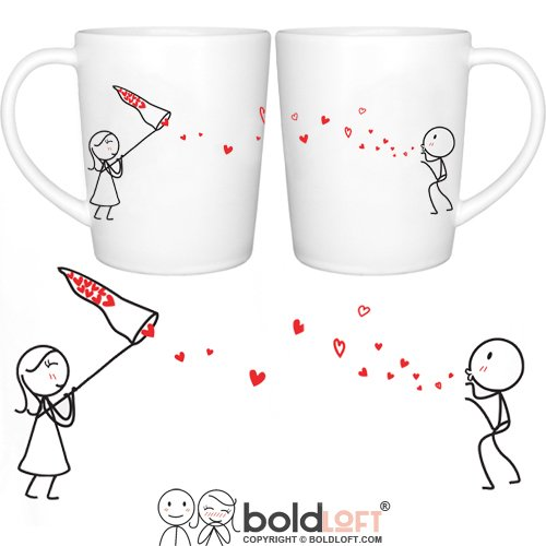 BOLDLOFT Catch My Love Too His and Hers Couples Coffee (Catch Mug)