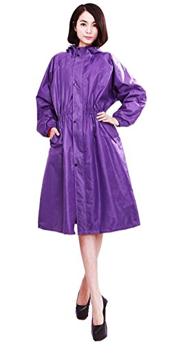 ACE SHOCK Women Rain Coat with Hood, Women's Long Waterproof Rain Jackets Belted Bicycle (Belted Womens Raincoat)