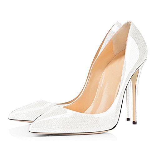 Pumpe Klassische Absaetze White Basische Stiletto Damen mehrfabrige Moderne Onlymaker nSH6Y5qw