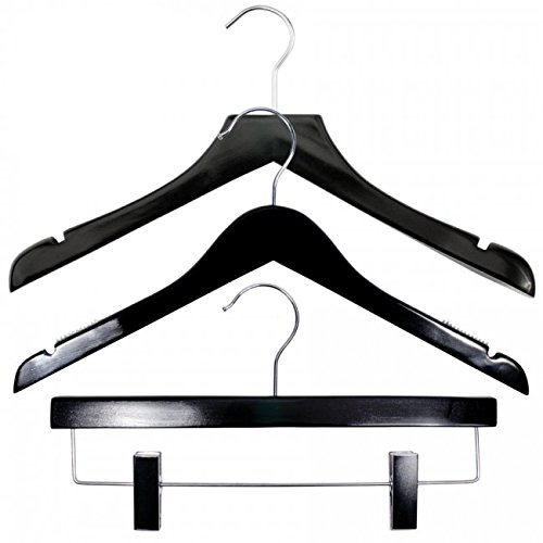 NAHANCO 20417HUSK Wood Clothes Hanger Kit - High Gloss Black (Pack of 79) by NAHANCO