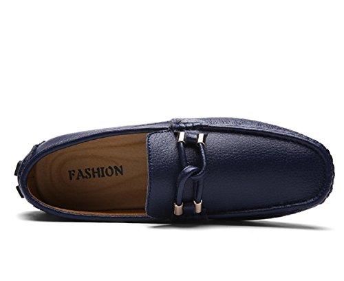 Conduite Couleur Main Flaneurs Homme Mocassins Fait Plage Studio Chaussures SK Respirant Bleu Cuir Grande Taille Unie AxSnt7OY