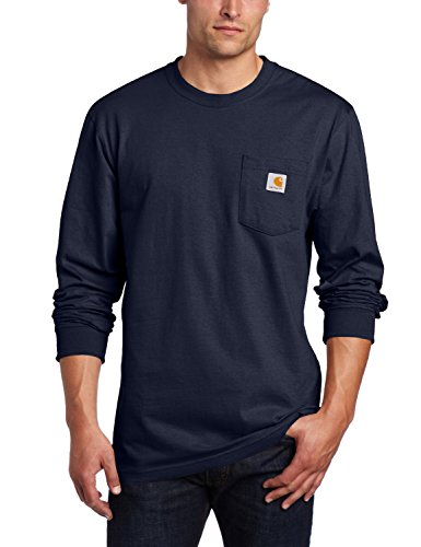 (Carhartt Men's Workwear Pocket Long Sleeve T-Shirt Midweight Jersey Original Fit K126,Navy,Large)