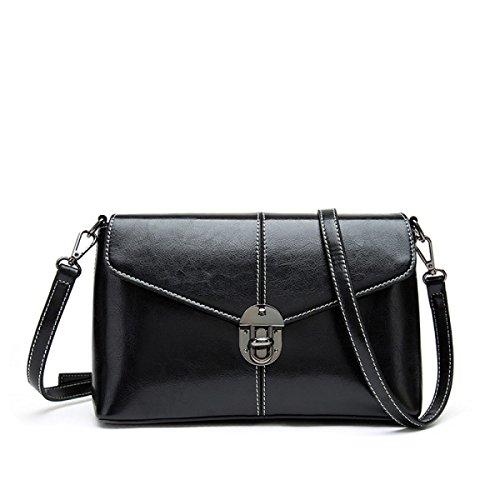 Versión Coreana Retro Bolsos Señoras Cerraduras Hombro Bolso Cuadrado Pequeño Cuero Paquete Diagonal Black
