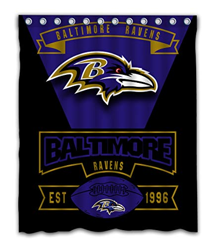 - Weckim Custom Baltimore Football Team Waterproof Fabric Shower Curtain Colorful Design for Bathroom Decoration Size 60x72 Inches