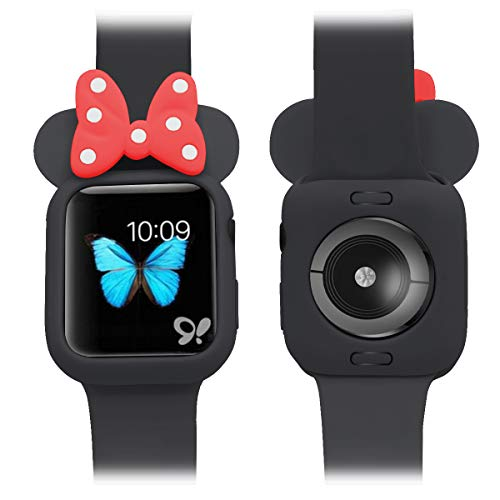 Soft Silicone Protective Case Disney Character Minnie Mouse Ears Compatible with Apple Watch Series 4 40MM 44MM for Kids (Black + red, 40MM)