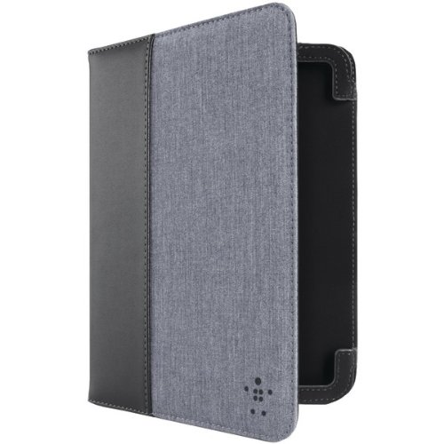 Belkin F8n885ttc01 7 Kindle[r] Fire Hd Chambray Cover With Stand [blacktop/blue]