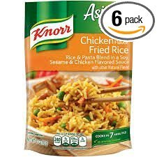(Pack of 6) of Knorr Asian Sides Chicken Fried Rice 5.7 Asian Sides Asian BBQ Rice Made with real Ginger pack of (6) 5.9oz