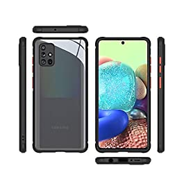 AE Mobile Accessories Back Cover for Samsung A71, Miqilin Series Tranparent Shock Proof Smooth Rubberized Matte Hard Back Cover (Black)