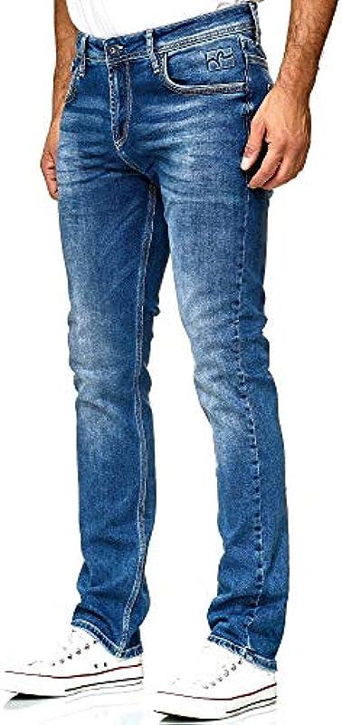 Dżinsy męskie Blue Used Stone Washed Stretch Slim Fit Business Wear niebieski 43-3: Odzież