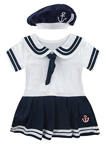 Infant Sailor Suits - Mombebe Baby Girls' 2 Pieces Sailor Dress Bodysuit Hat (6-12 Months, White)