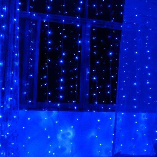 OMG! LED Window Curtain String Light, 300LEDS,8Modes Controller Twinkle 9.89.8FT,Wedding Party Home Garden Bedroom Outdoor Indoor Wall Decorations.(Blue)