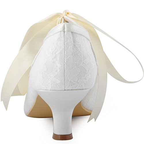 ElegantPark HP1522 Damen Peep Zehen Lace Pumps Brautschuhe Ivory