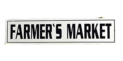 AT Vintage Enamel Farmer's Market Tin Kitchen Wall Sign ()