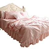 What Are the Dimensions of a California King Size Bed YIH Bed Skirt Set of 3 Piece Queen Size, Cotton Bedding Duvet Cover Set, Soft Breathable Perfect Cover for Comforter Ruffled Home Decore