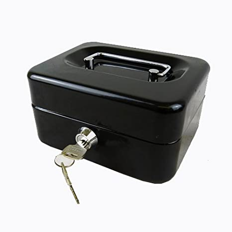 amazon com hyfive 6 black steel petty cash box money holder