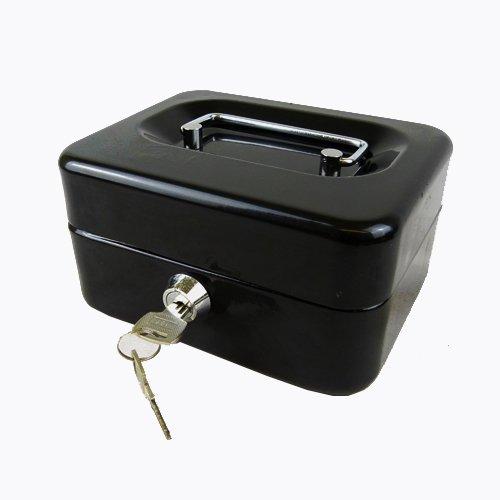 Hyfive 6 in acciaio nero Petty Cassa Fermasoldi cassaforte di sicurezza con chiavi e vassoio