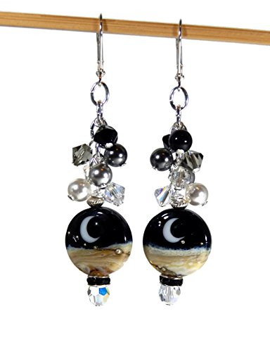 Artisan Lampwork Earrings (Crescent Moon and Swarovski Crystal Earrings with Artisan Lampwork Beads)