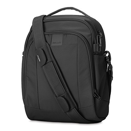 - Pacsafe Metrosafe LS250 12 Liter Anti Theft Shoulder Bag - Fits 11 inch Laptop, Lightweight (1.46 lbs) with RFID Blocking Pocket and Lockable Zippers (Black)
