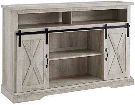 BOWERY HILL Modern Farmhouse Sliding Barn Door Wood 52″ Highboy TV Stand Console Storage Cabinet