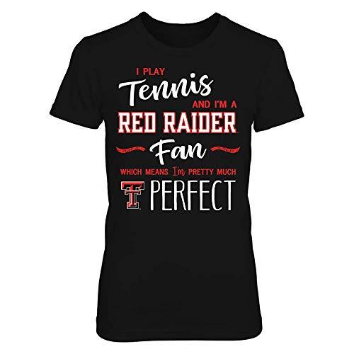 FanPrint Texas Tech Red Raiders T-Shirt - Perfect Tennis Player Texas Tech Raiders Fan T-Shirt | Tank - Women's Tee/Black/M