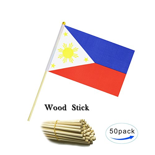 Kind Girl Wood Hand Held Philippines Flag Filipino Flag Stick Flag Small Mini Flag 50 Pack Round Top National Country Flags,Party Decorations Supplies for Parades,World Cup,Sports Events, Celebration