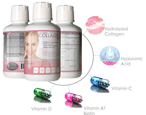 Premium Liquid Collagen Peptides,16Oz Best Value, Anti-Aging Formula, Grass-Fed, Has Hydrolyzed Collagen, Biotin, Hyaluronic Acid, Vitamin C and D as its Major Constituent compounds. Raspberry Flavor