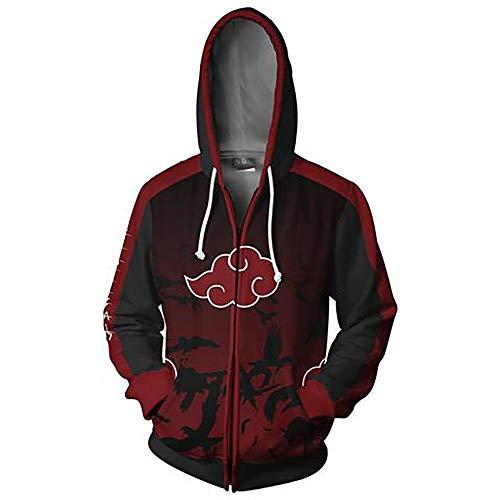 Hibuyer 3D Printing Naruto Akatsuki Cloud Zip up Hoodie Sweatshirt Jacket Cosplay Costume Unisex (Medium)