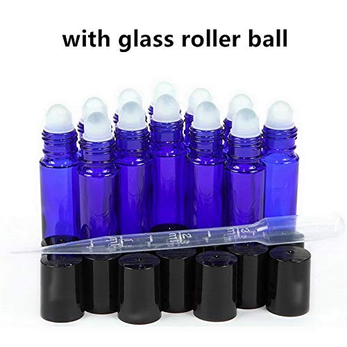 SaveStore 12 Empty 10ml Cobalt Blue Glass Essential Oil Roll on Bottles with Stainless Steel Roller Ball for Perfume 3ml Dropper Included