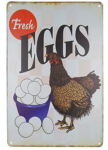 - SKYC Fresh Eggs Hen Chicken Distressed Tin Signs Vintage Coffee Country Home Bar Wall Decor Art Poster Sign 8X12Inch