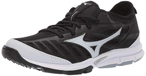 Mizuno Women's Players Trainer 2 Fastpitch Turf Softball Shoe, Black/White, 8 B US