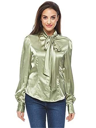 Valeria Sanoufi Green Mixed Neck Blouse For Women