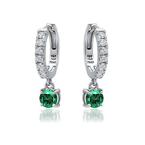 Sterling Silver 5mm Created Green Emerald & White CZ Dangle Huggie Hoop Earrings for Women Teen Girls, 15mm Diameter ()