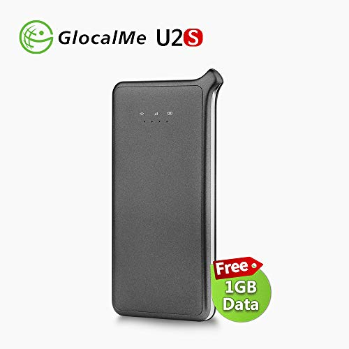 GlocalMe U2S Lite Mobile Hotspot, Worldwide High Speed WiFi Hotspot with 1GB Global Initial Data (Black)