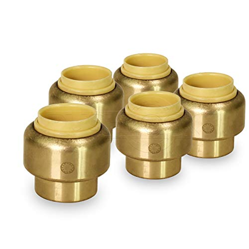 - Pushlock UPSE12-5 Plug End Cap Pipe Fitting Push to Connect Pex Copper, CPVC, 1/2 Inch, Brass Pack of 5