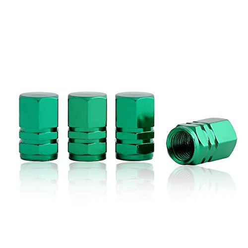 GODESON Green Aluminum Tire Valve Stem Cap with Hexgon Style, 4 Pcs/Set, Aluminum Tire Wheel Stem Air Valve Caps for Auto Car Motorcycle Bicycle