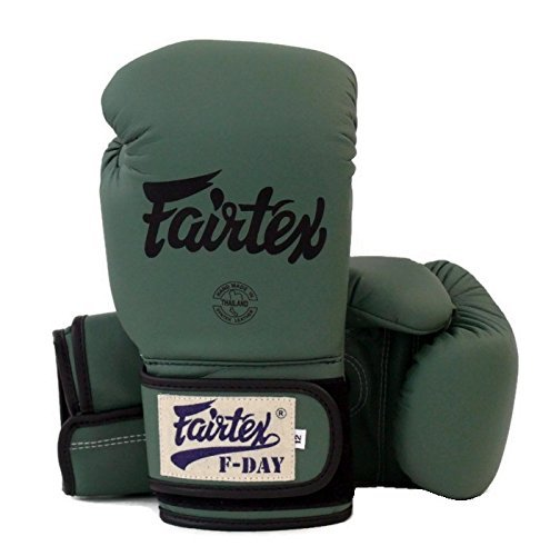 Fairtex Muay Thai Boxing Gloves Limited Edition BGV11 F Day Military Green Size 10 12 14 16 oz Training & Sparring Gloves for Muay Thai Kick Boxing MMA K1 (Military - Boxing Twins Gloves